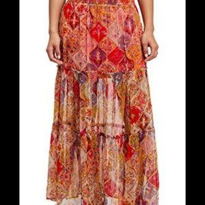 NWT Free People Blazing Orange Floral Maxi Skirt